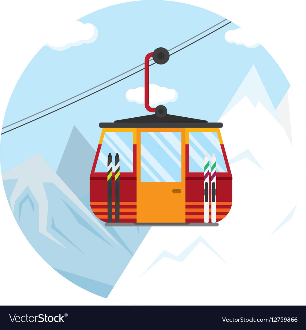 A ski lift cable car for