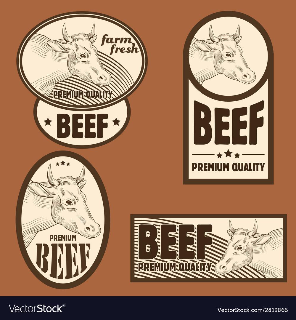 Beef vintage labels set
