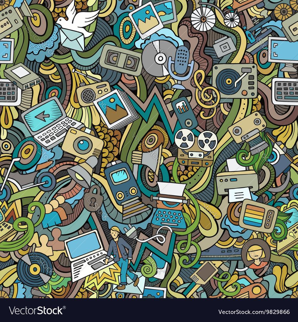 Cartoon Doodles social media technical vector image