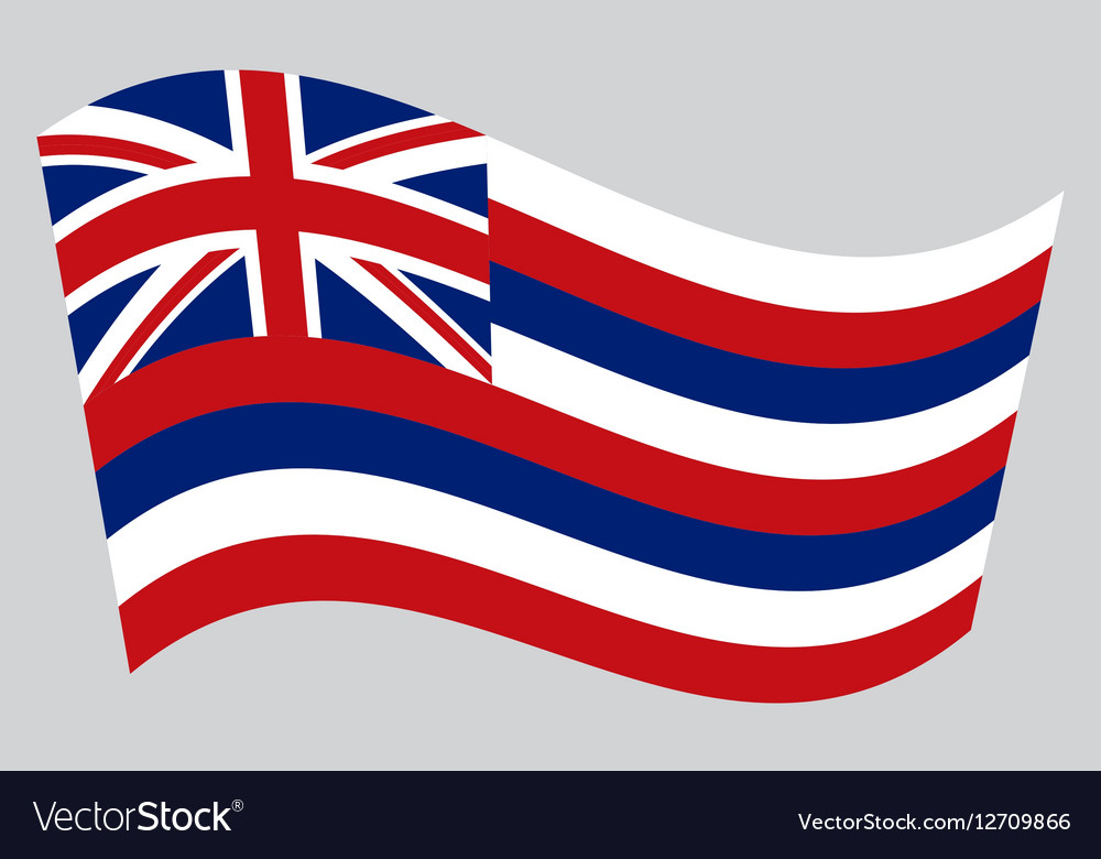 Flag of Hawaii waving on gray background