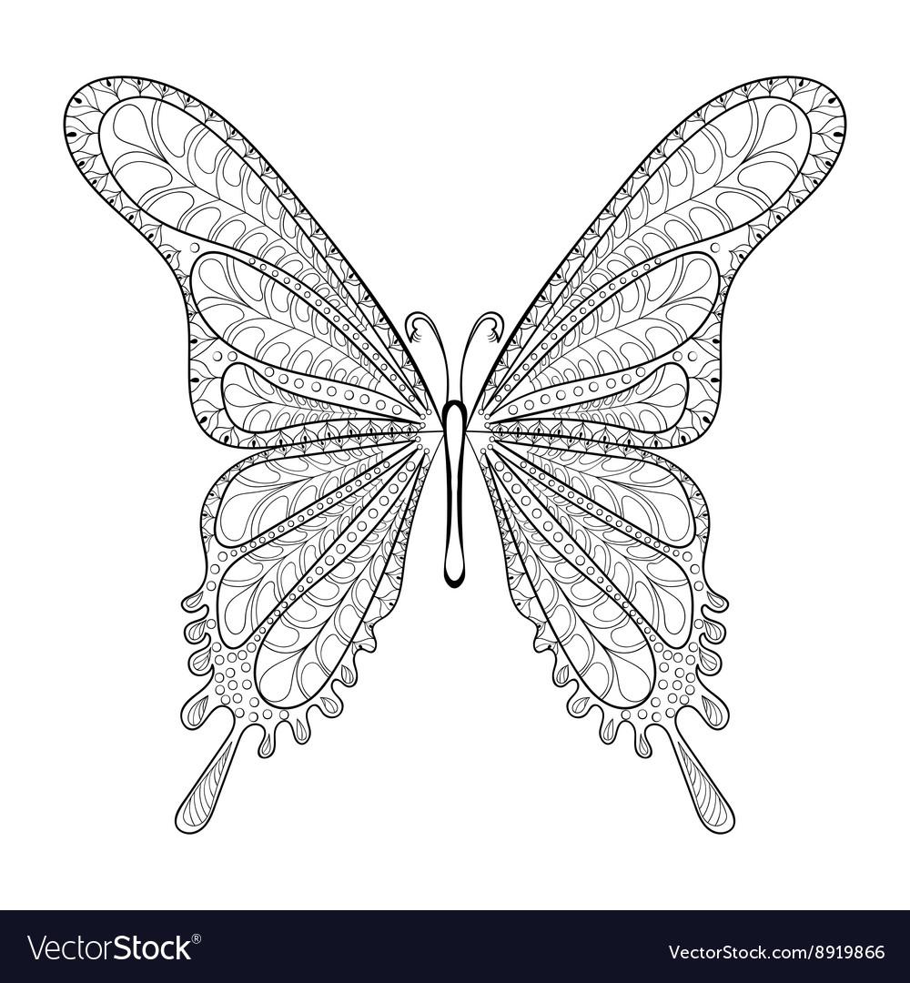 Hand drawn zentangle tribal butterfly pattern