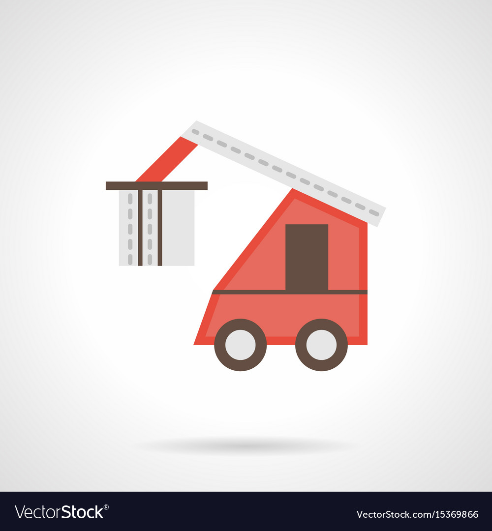 Red loading truck flat color icon
