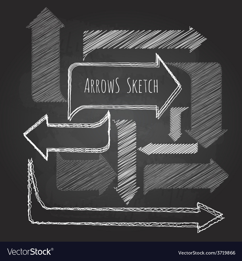 Set of chalk drawing arrows vector image