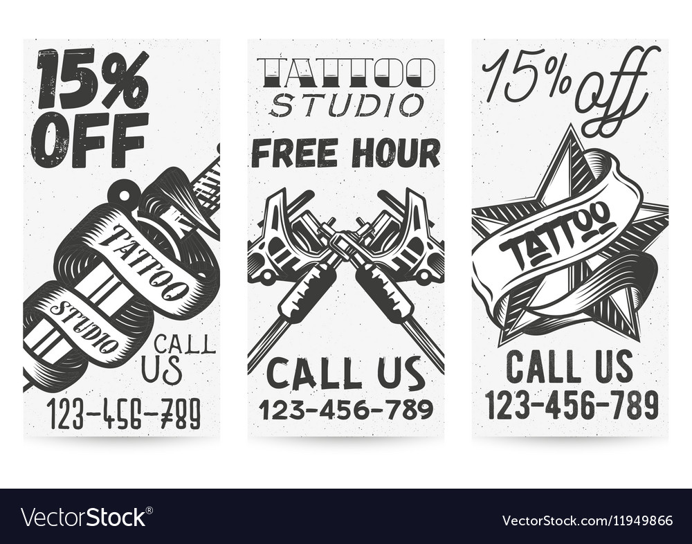 Set of vintage templates for tattoo studios