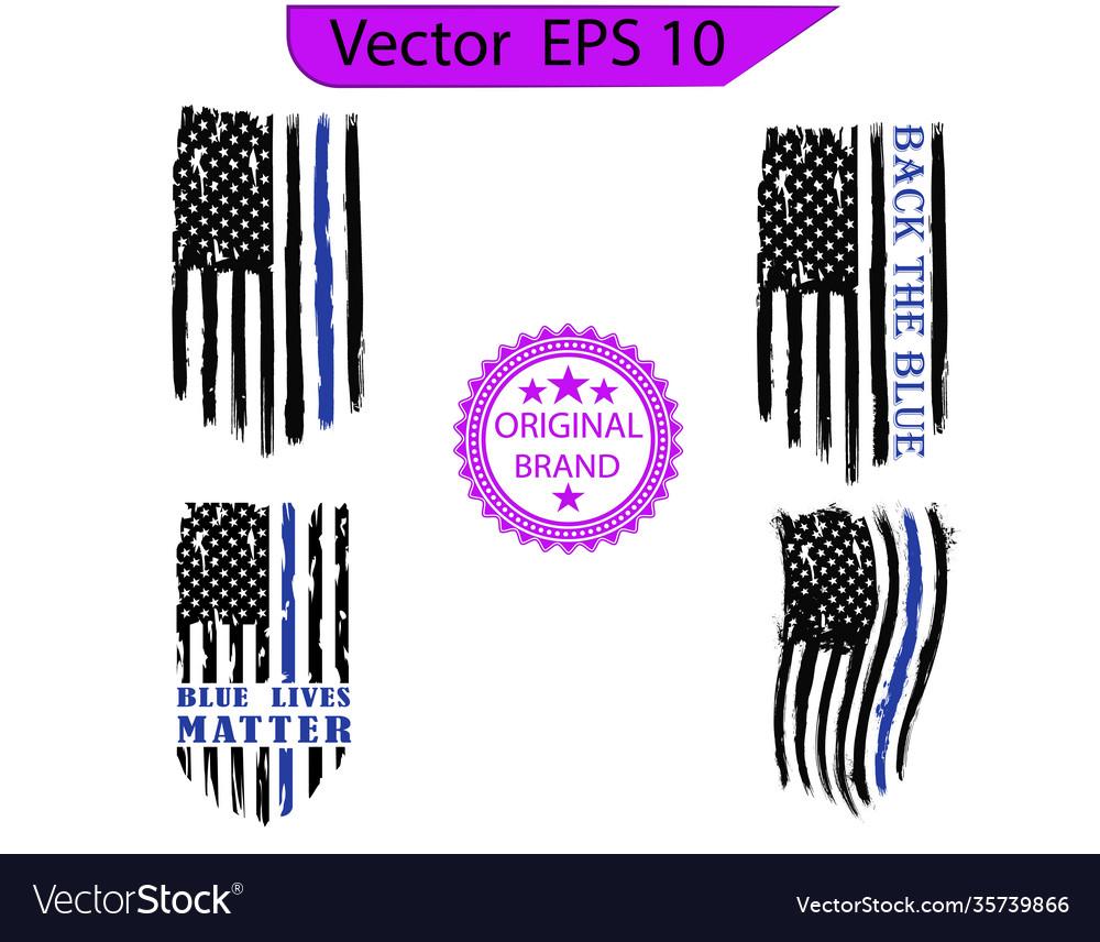 Thin blue line us flag flag with police blue line