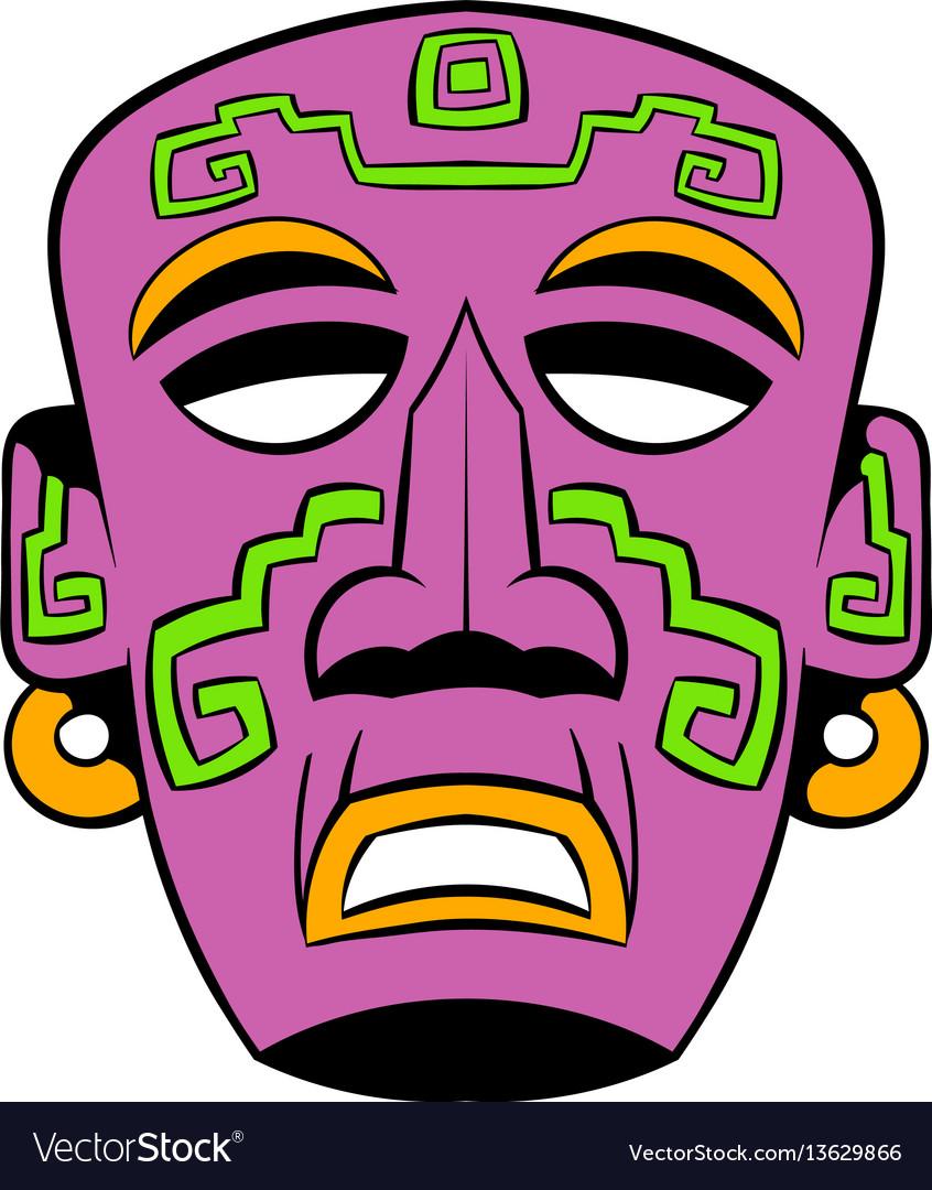 Tribal mask icon cartoon