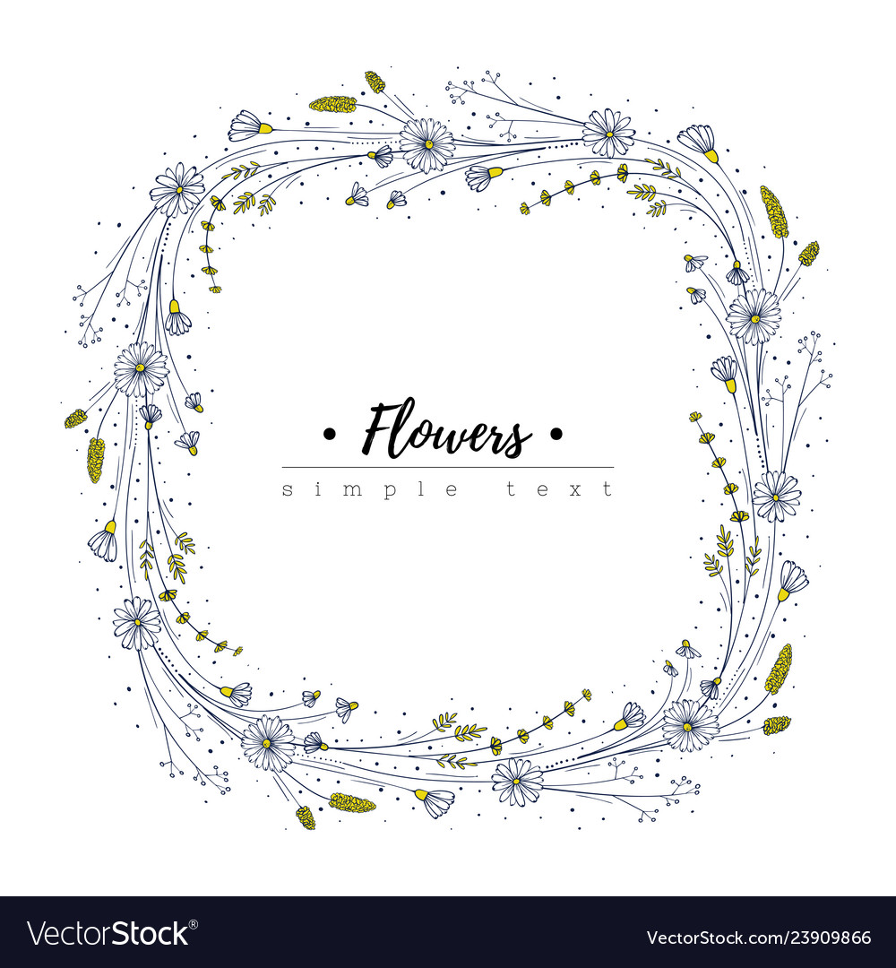 Wildflower frame floral design template doodle