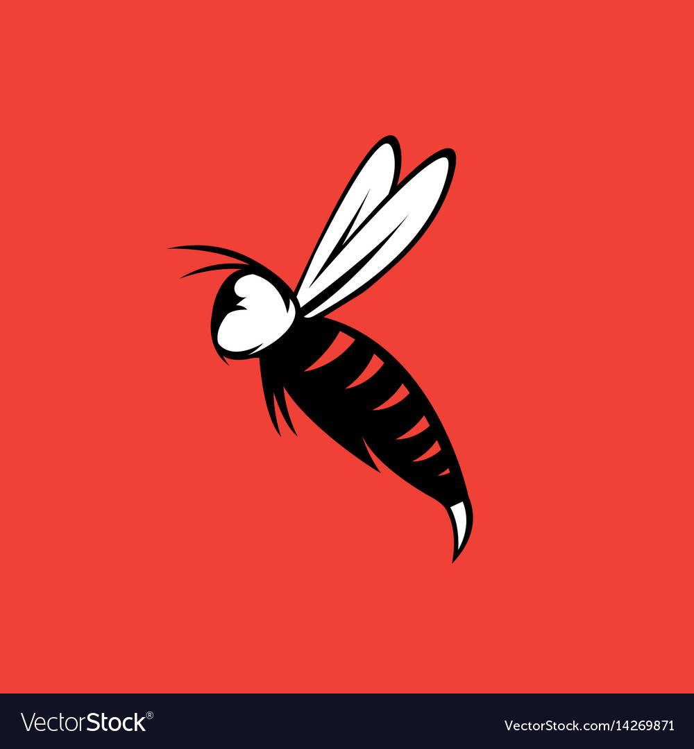 Agressive bee or wasp mascot design template