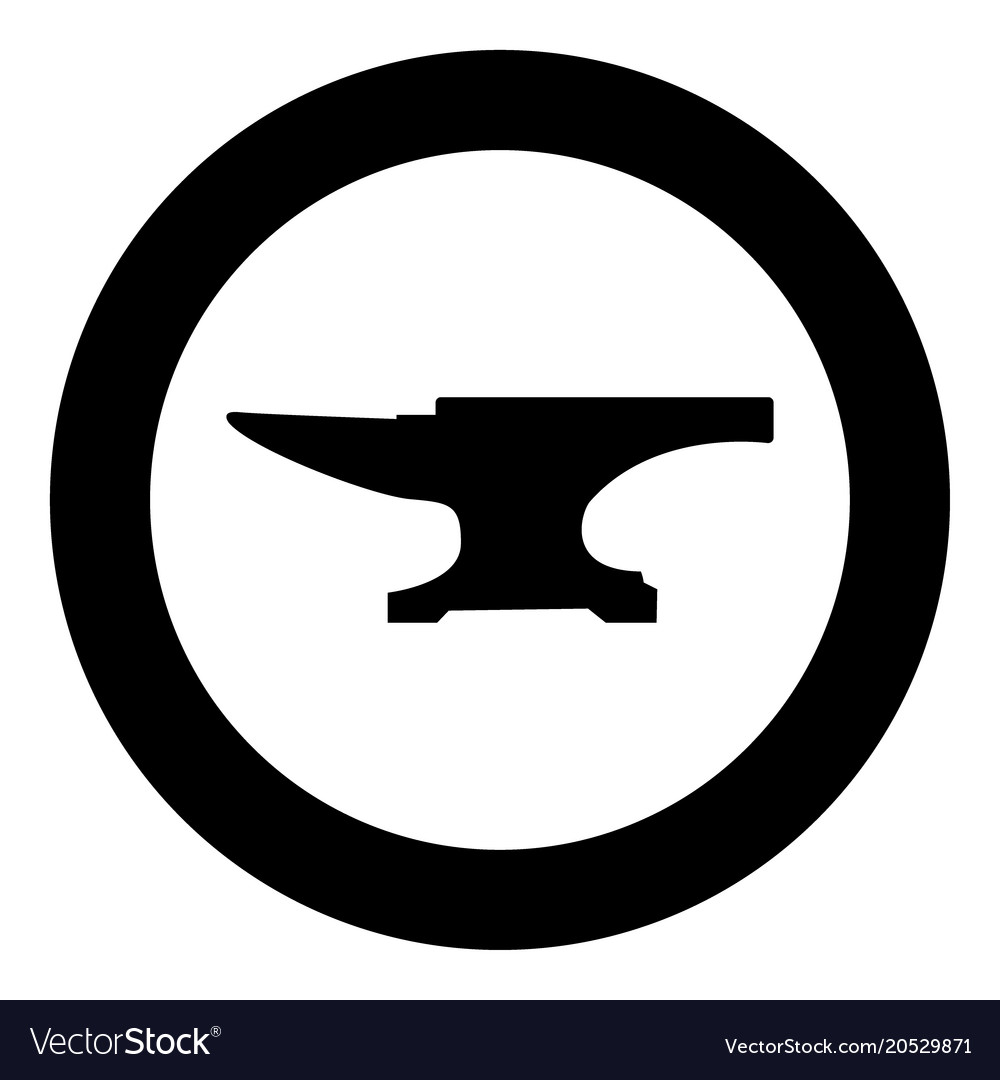 Anvil block icon black color in circle