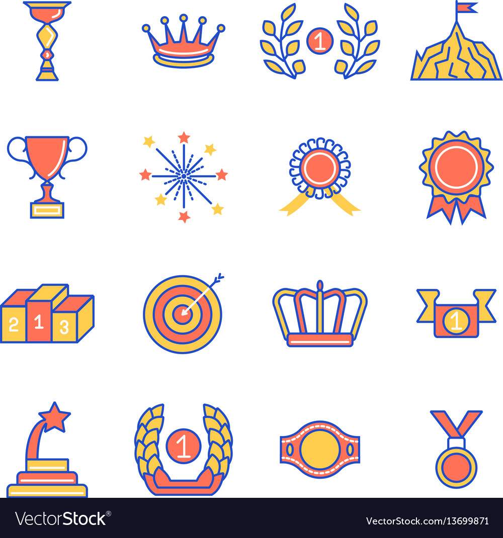 Awards and 1st best podium place thin line flat vector image