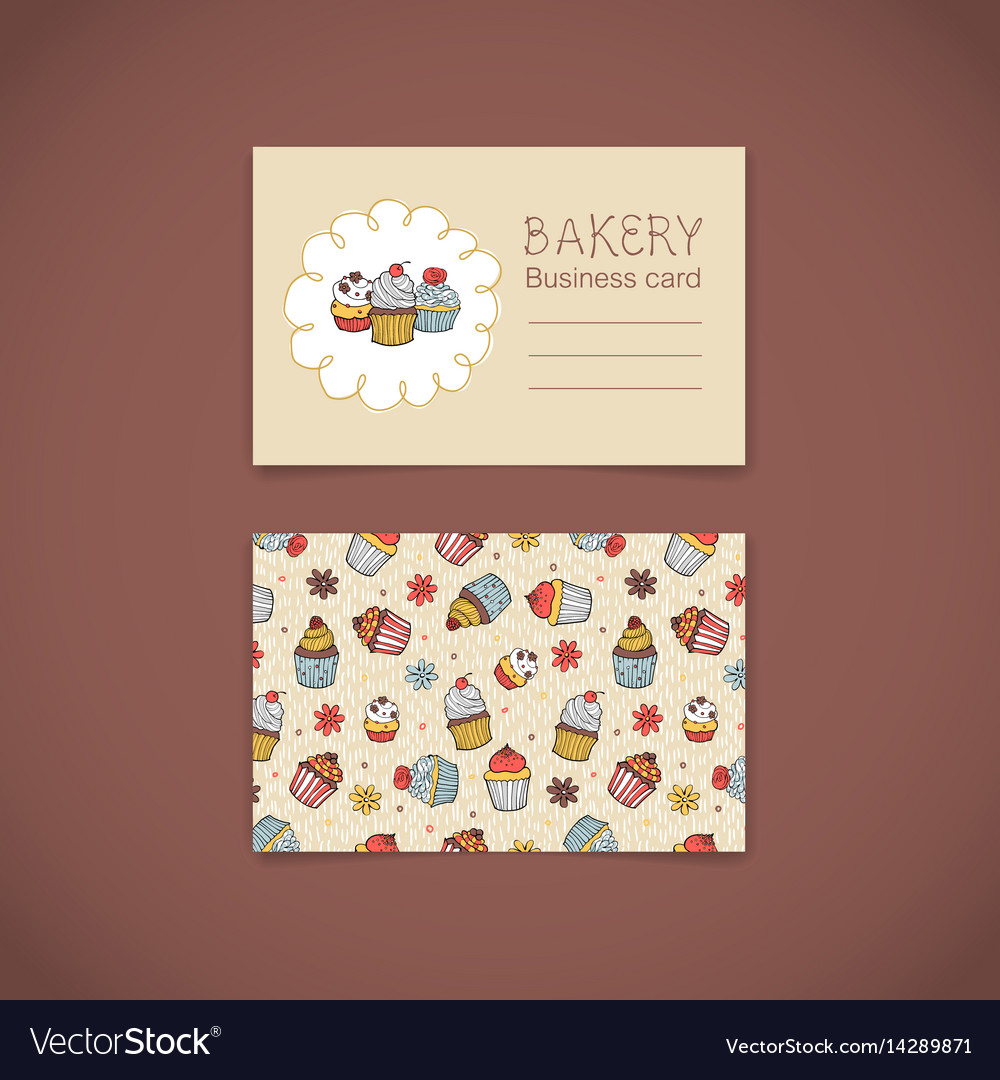 Bakery business card with capcakes Royalty Free Vector Image