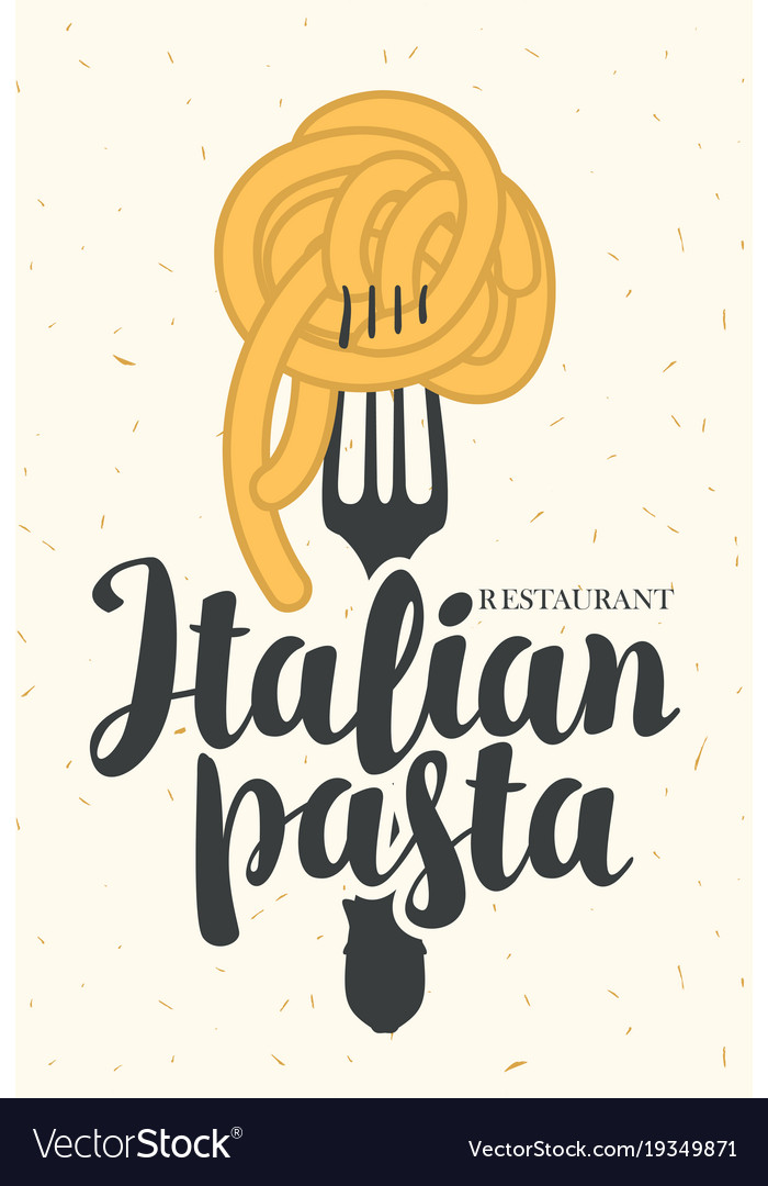 Banner With Italian Pasta On Fork Royalty Free Vector Image