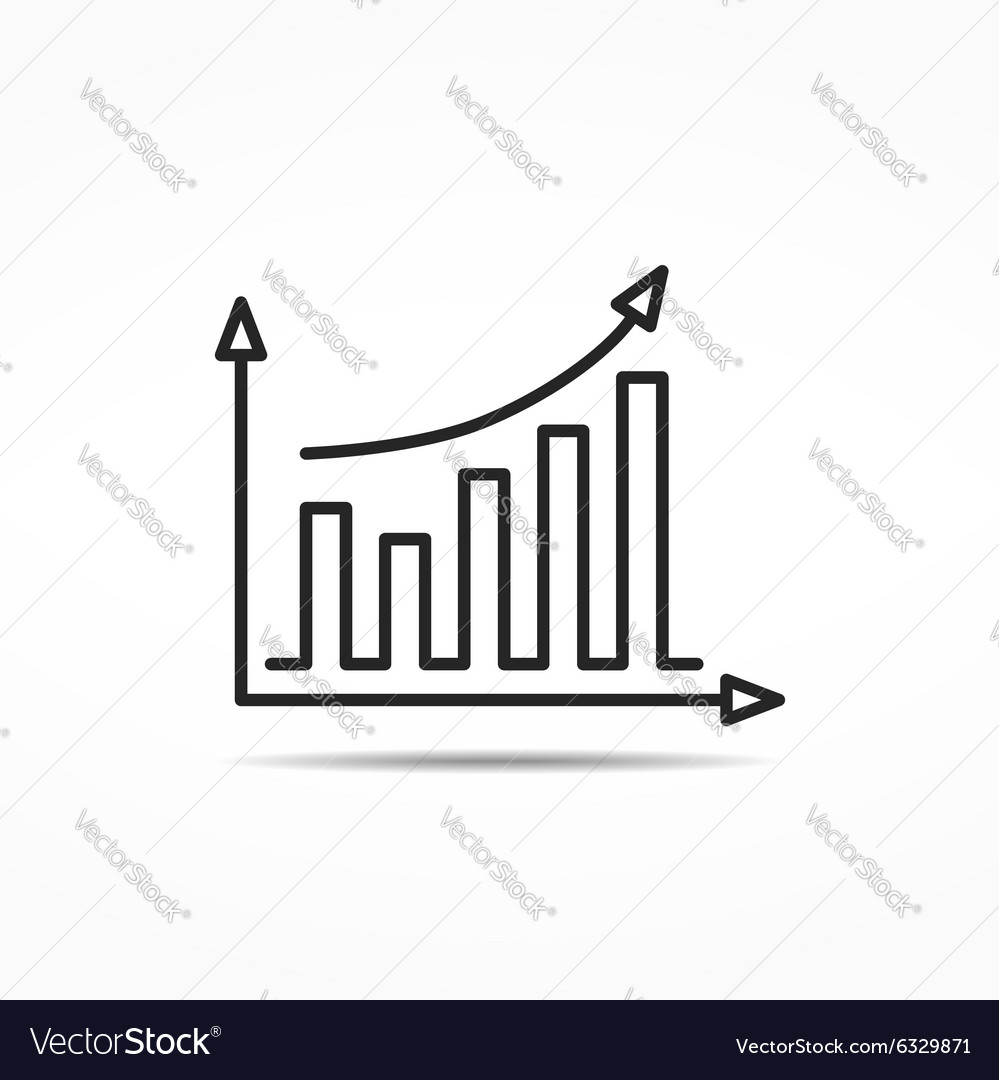 Bar Graph Line Icon vector image