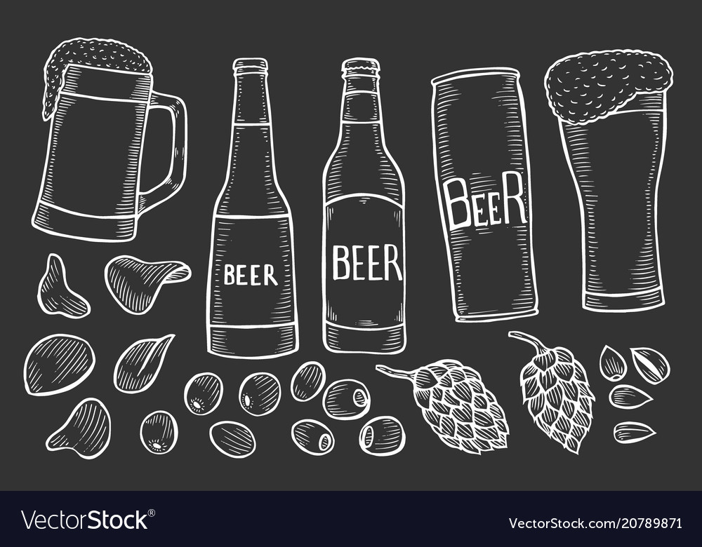 Beer bottles and glass