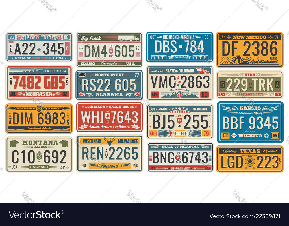 Car license plates for vehicles signboards