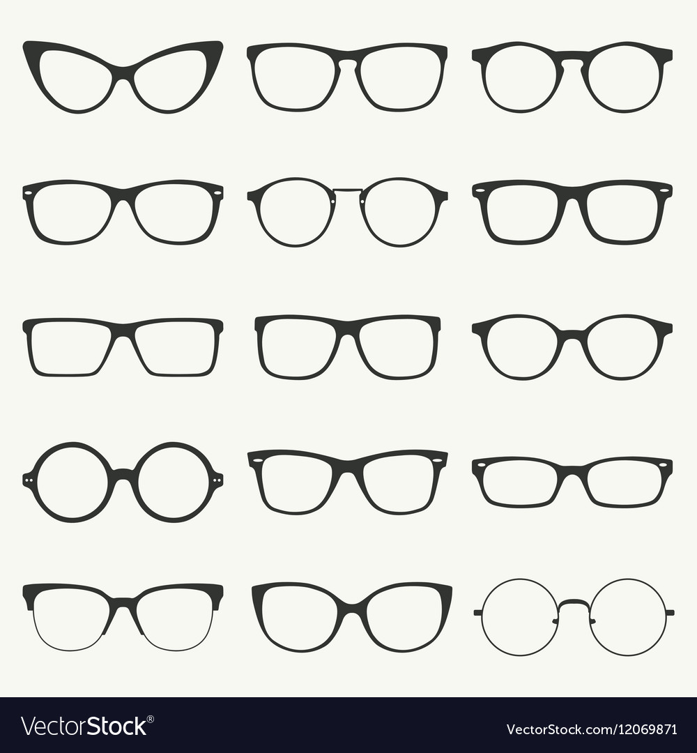 Glasses silhouette set vector image