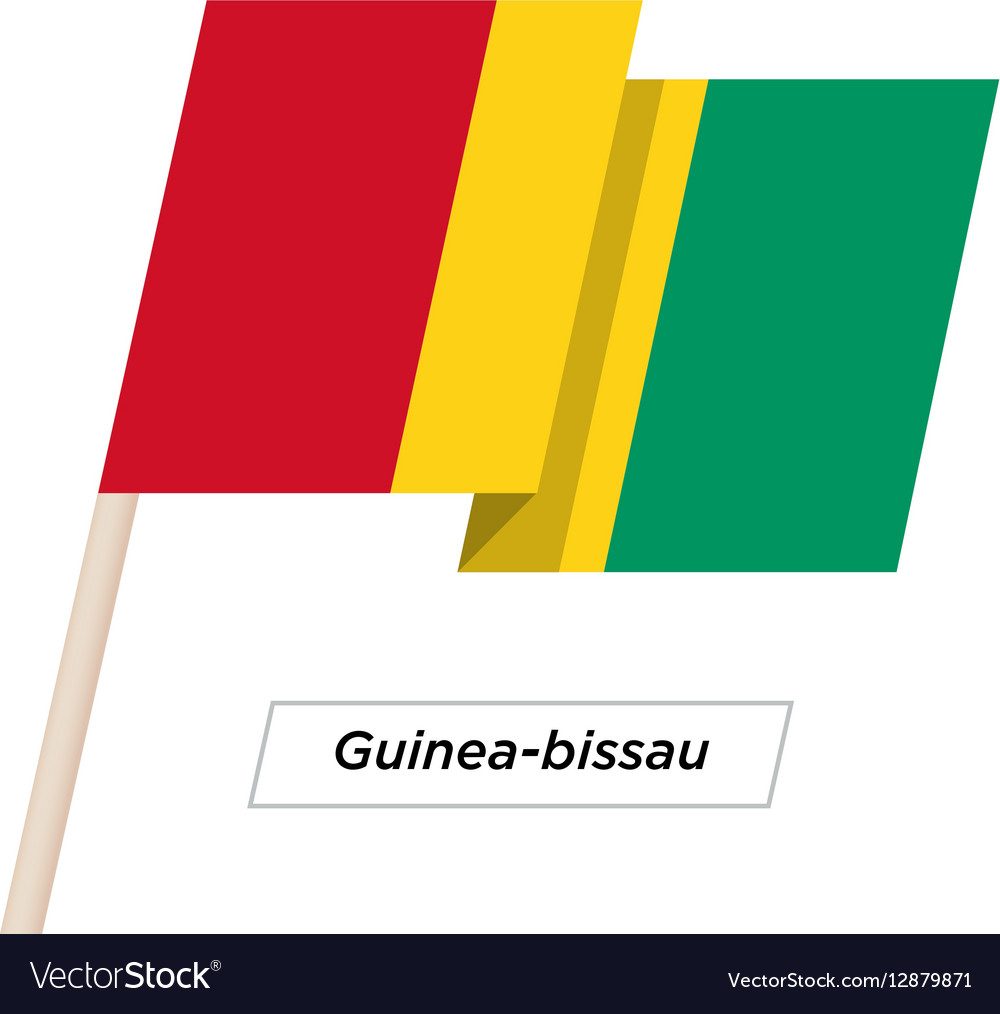 Guinea-bissau Ribbon Waving Flag Isolated on White vector image