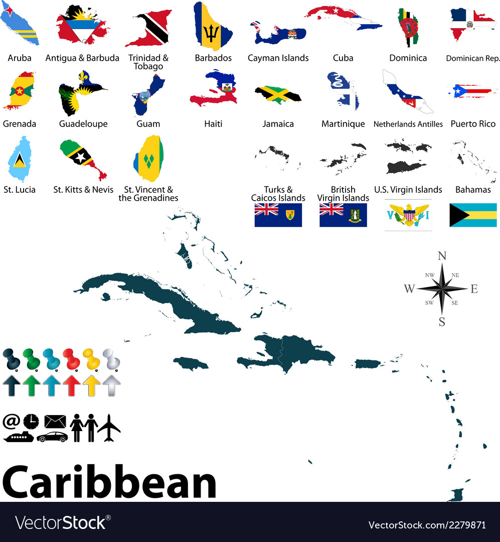 Maps with flags of Caribbean