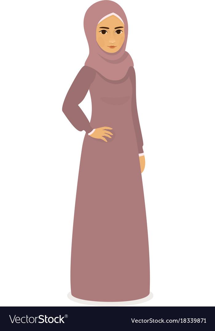 Muslim beautiful girl woman in hijab - full-length