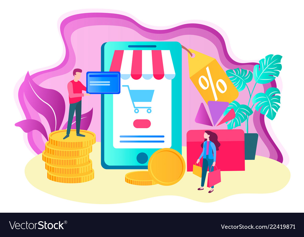 Online shopping concept mobile application for
