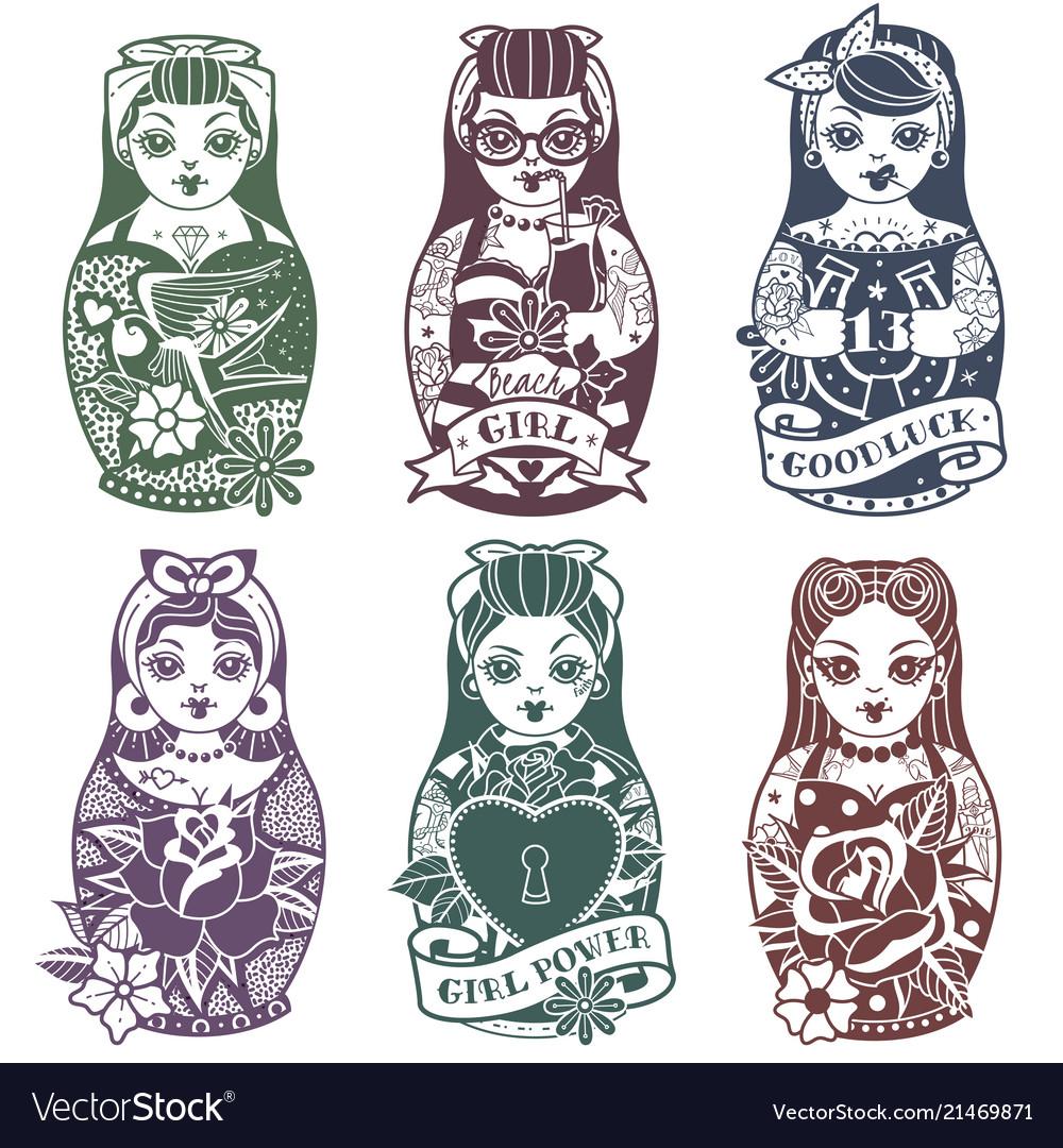 Russian dolls monochrome set
