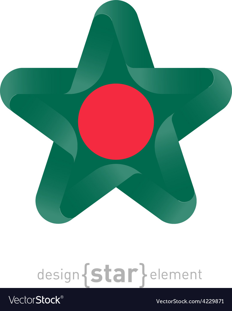 Star With Bangladesh Flag Colors And Symbols Vector Image