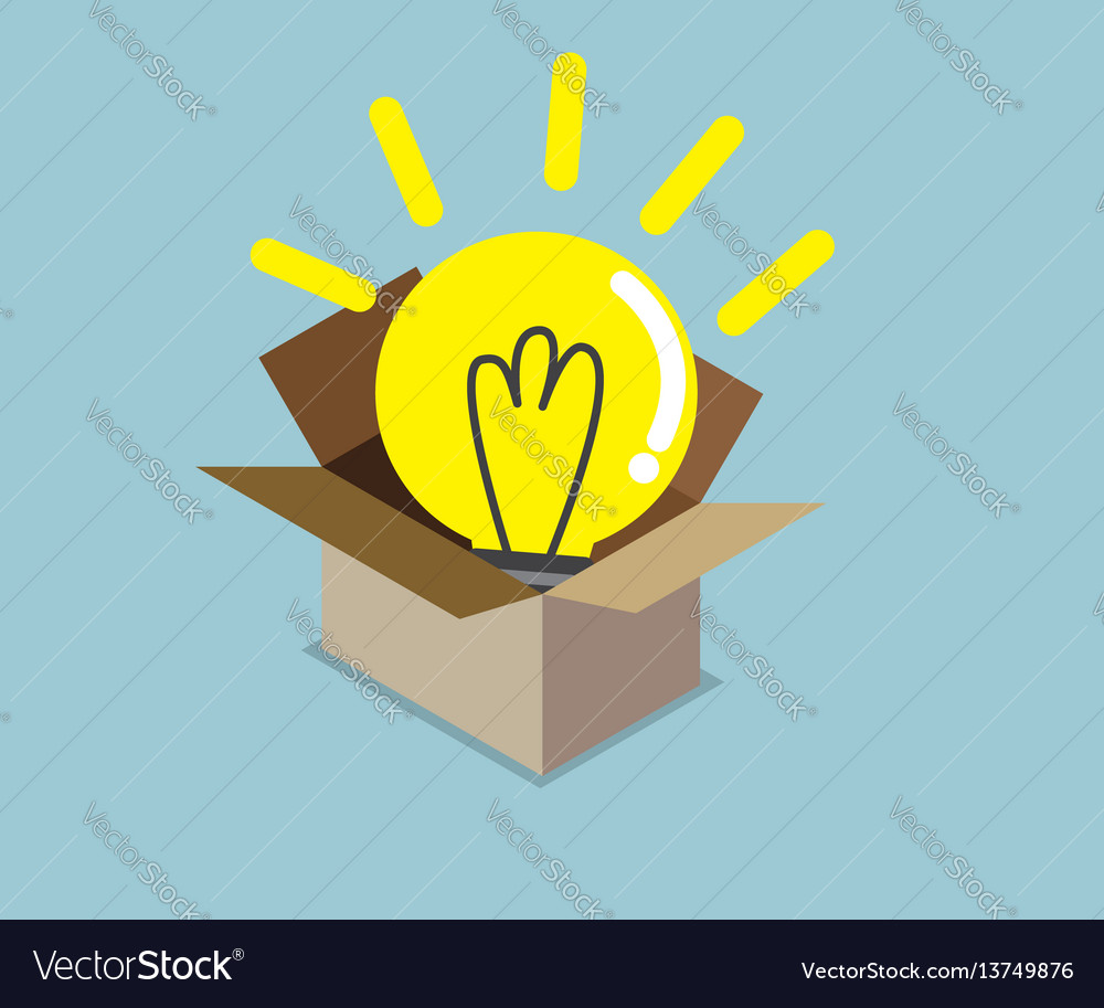 Abstract light bulb idea in box