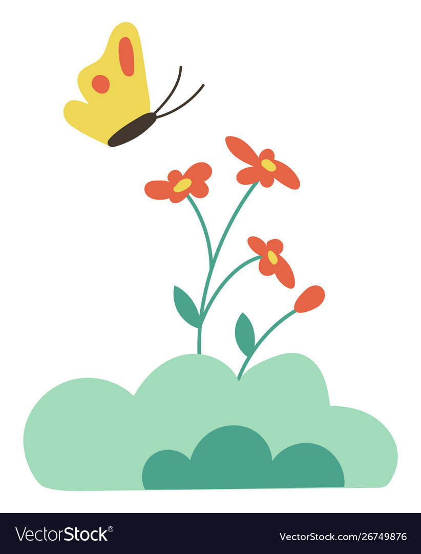 Butterfly on flowers isolated cartoon bud