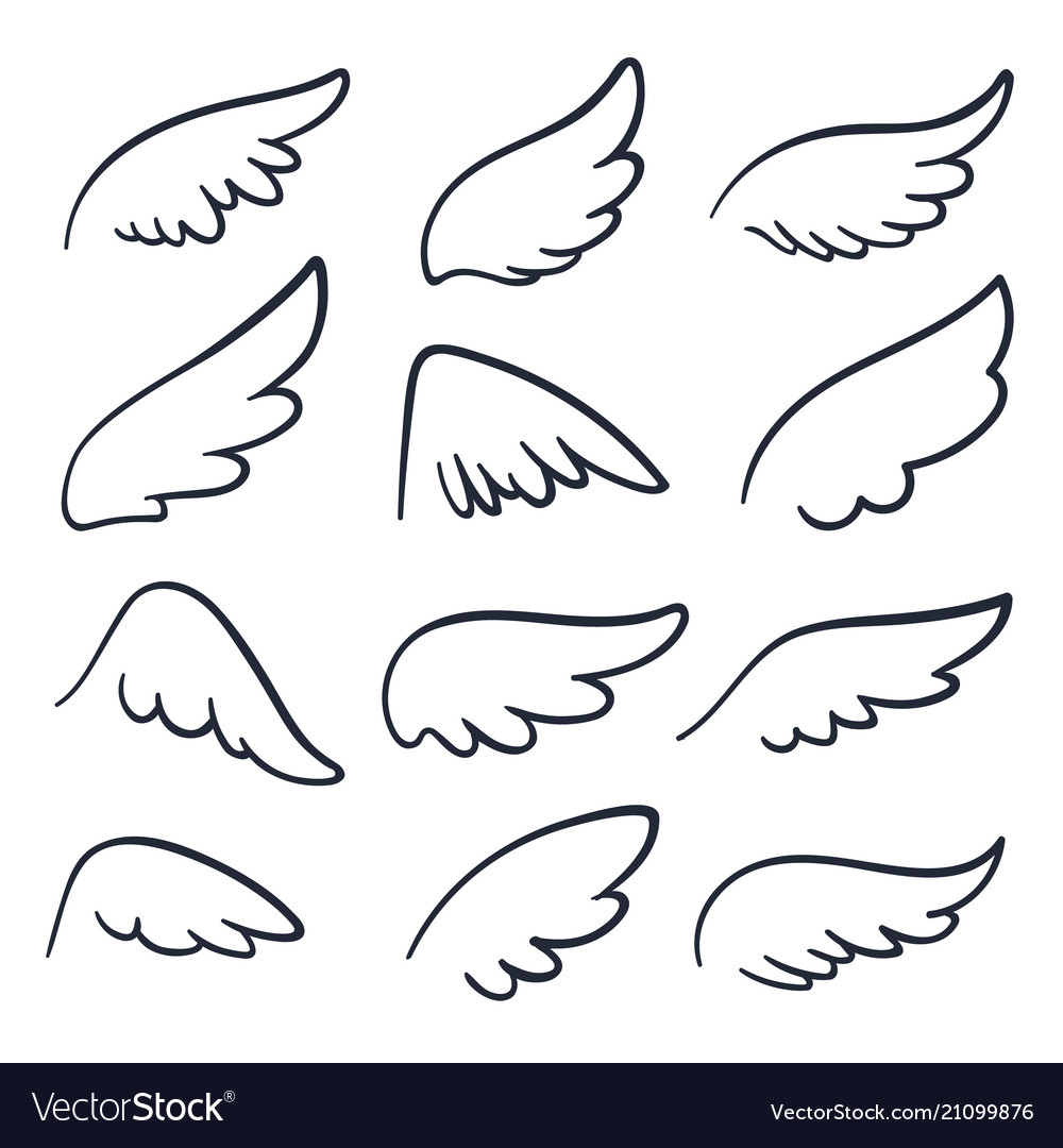 Cartoon Angel Wings Winged Doodle Sketch Icons Vector Image