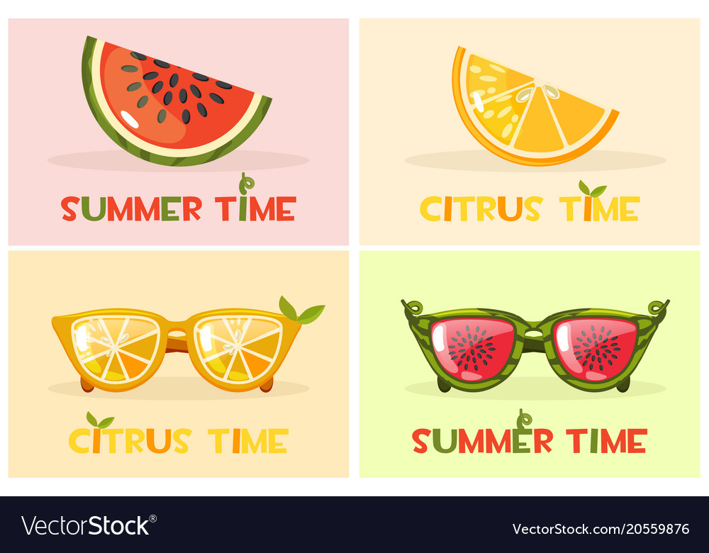 Citrus orange and watermelon glasses set vector image