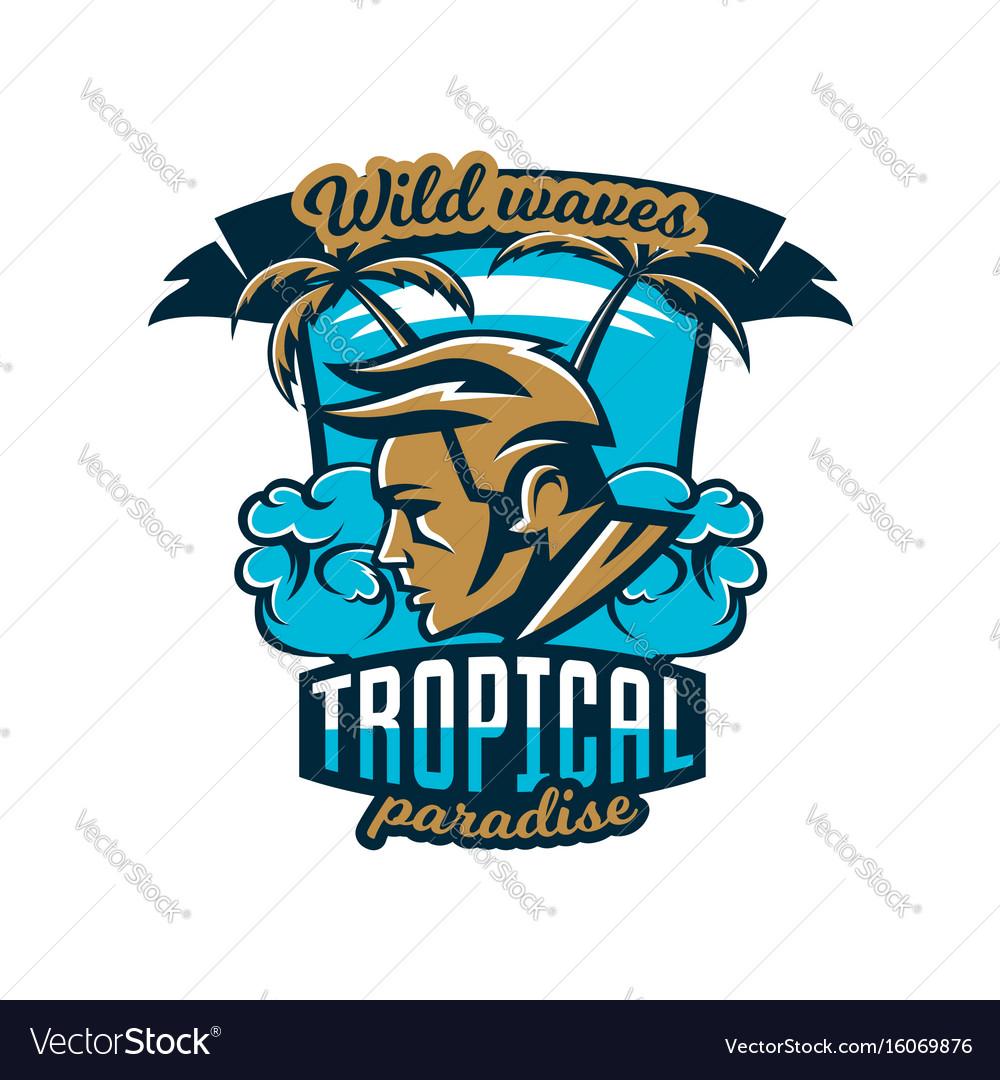 Colorful logo emblem surfer on a background of