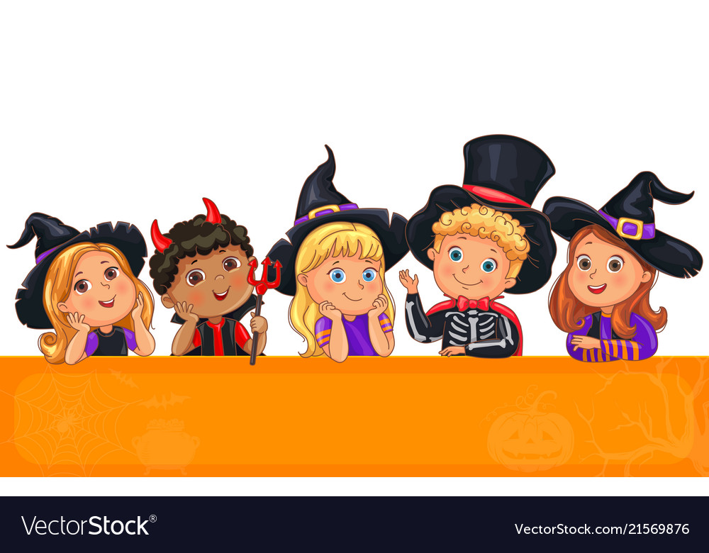 Cute kids in halloween hat template for design