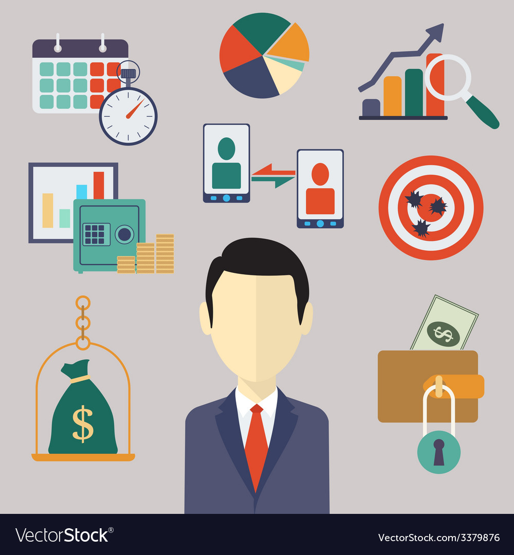 Flat business and finance concepts
