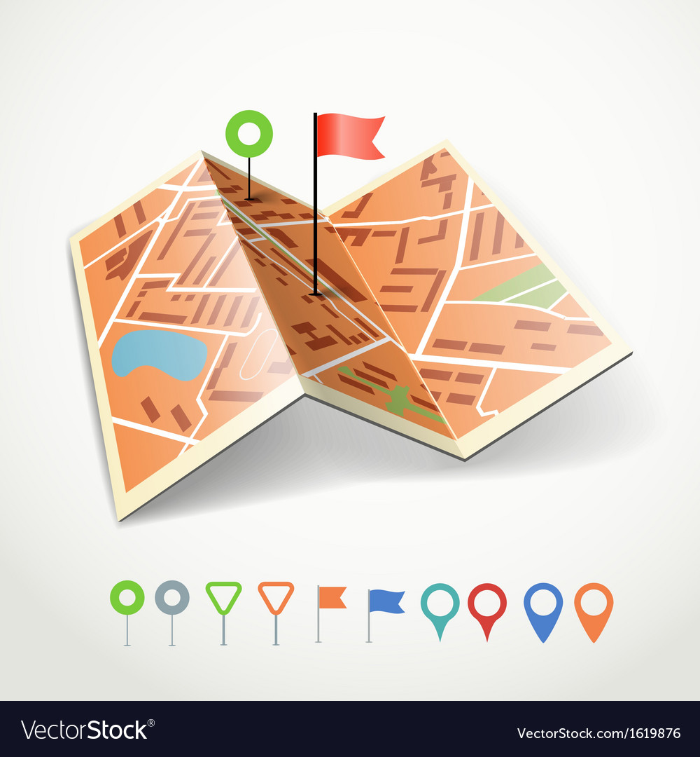 Folded abstract city map