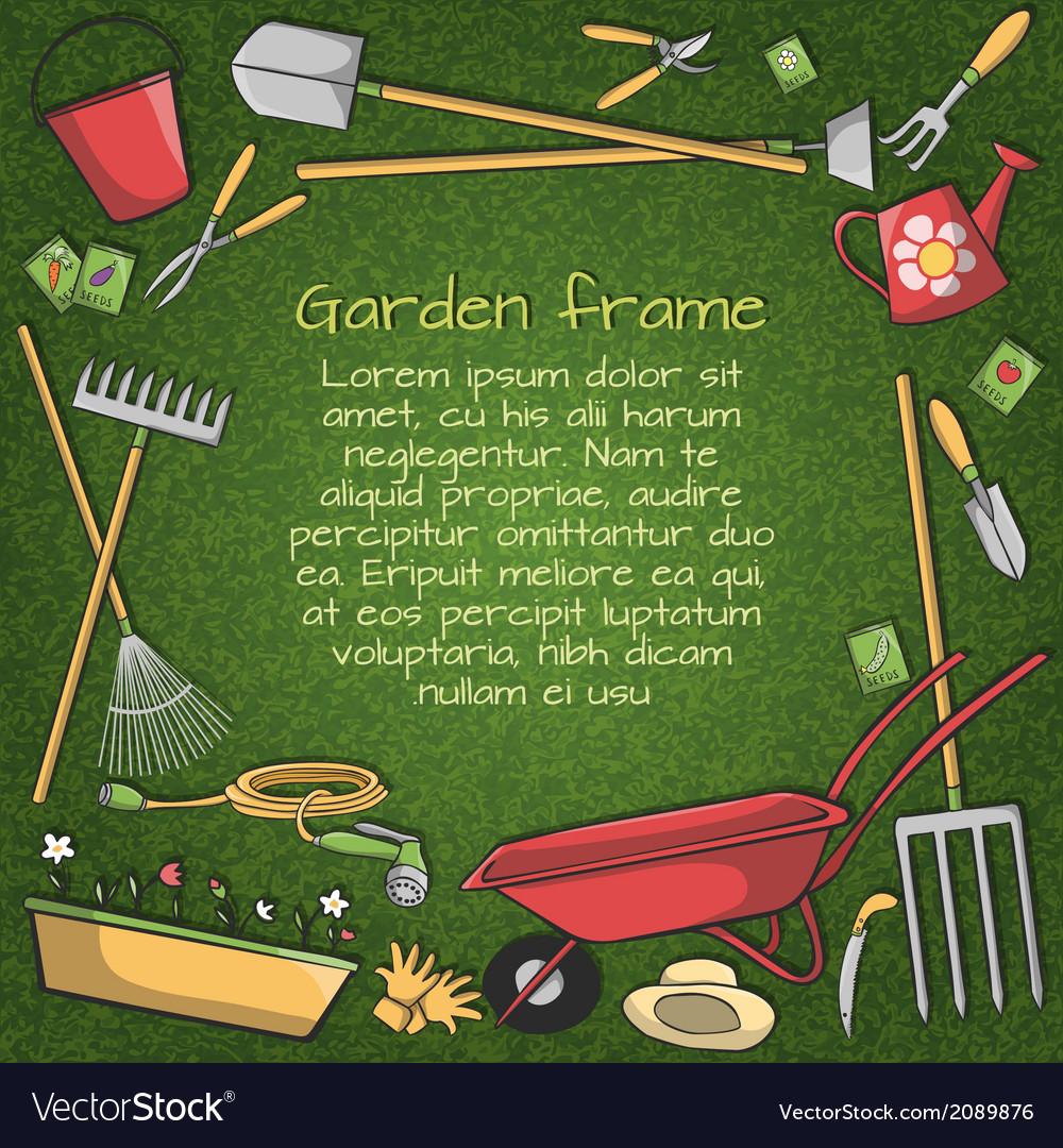 Garden tools frame vector image