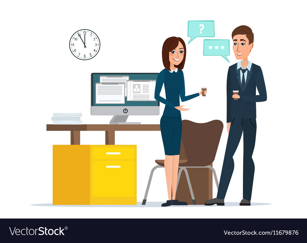 Girl and man businessmen talking office Job