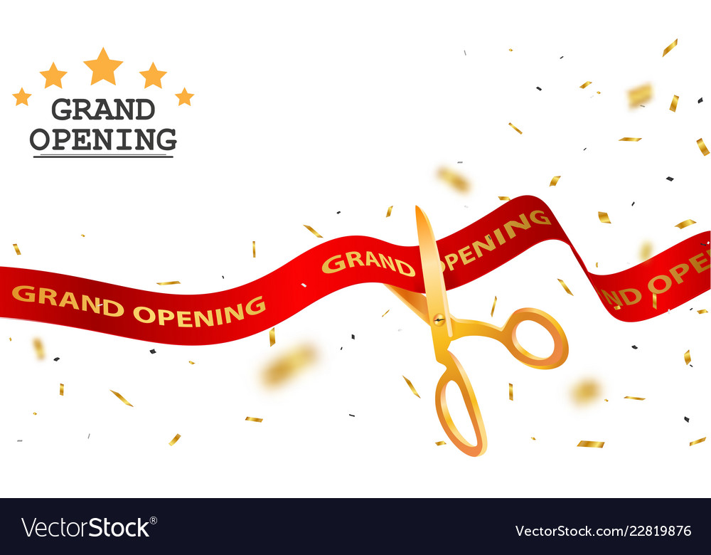 Grand Opening Card Design With Red Ribbon
