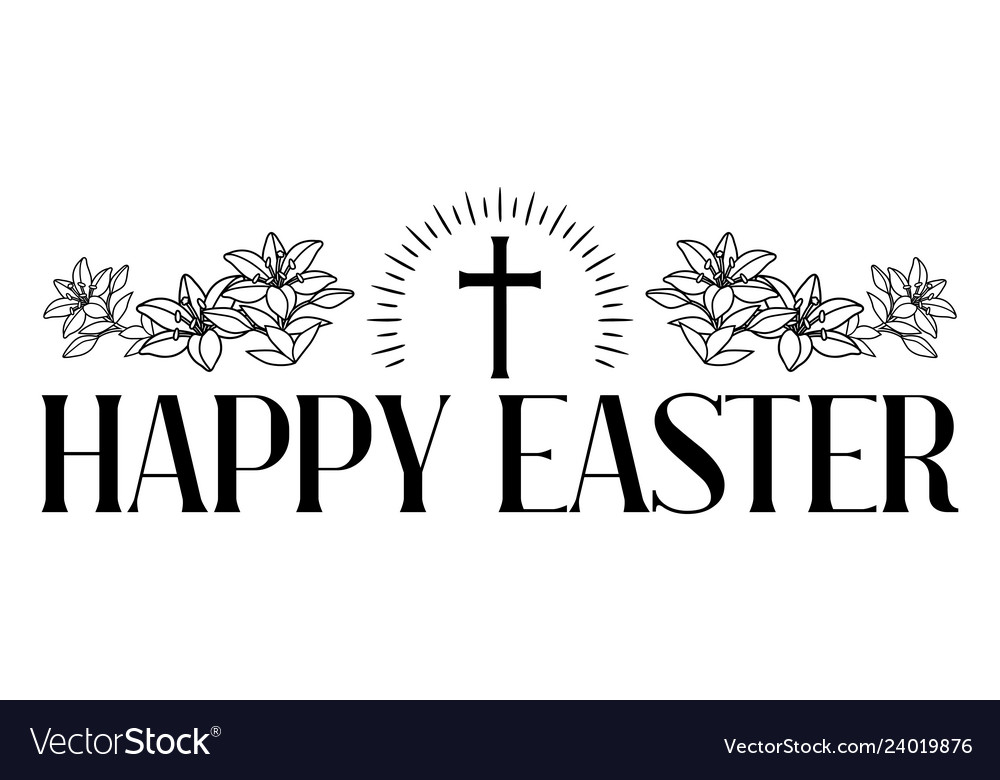 Happy easter concept cross and