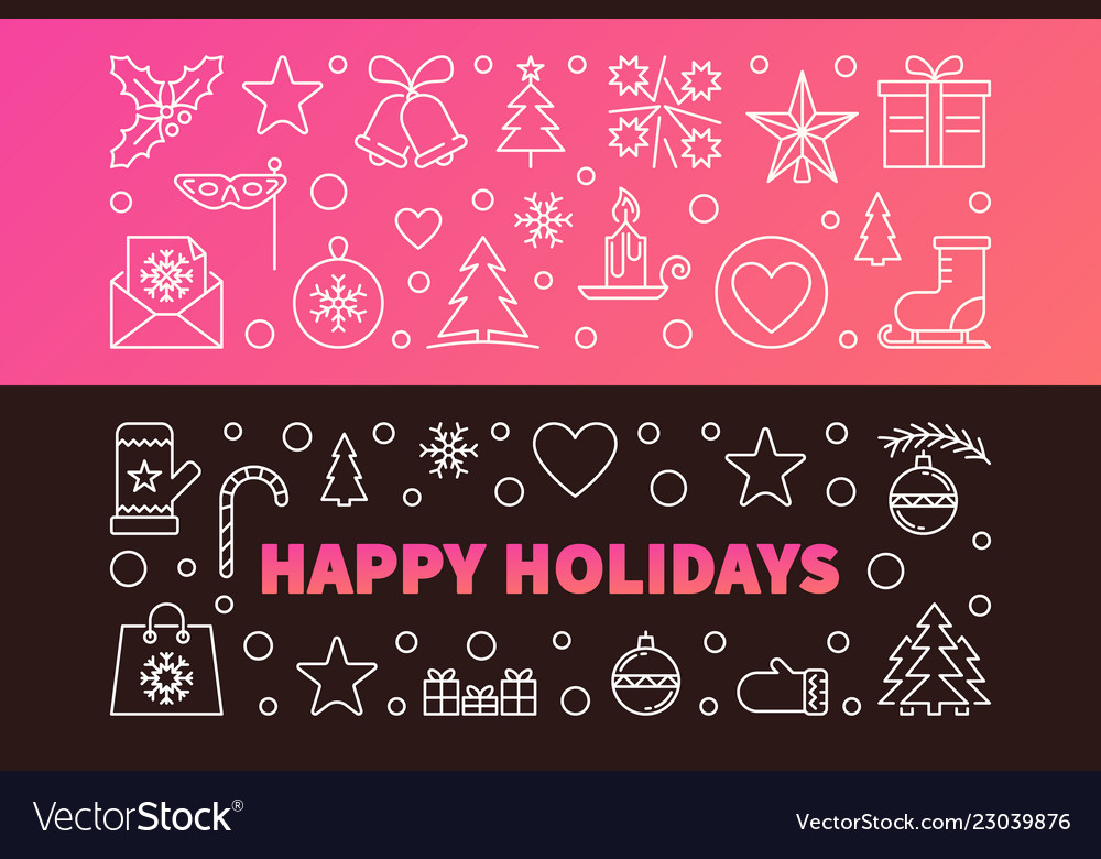 Happy holidays colored banners