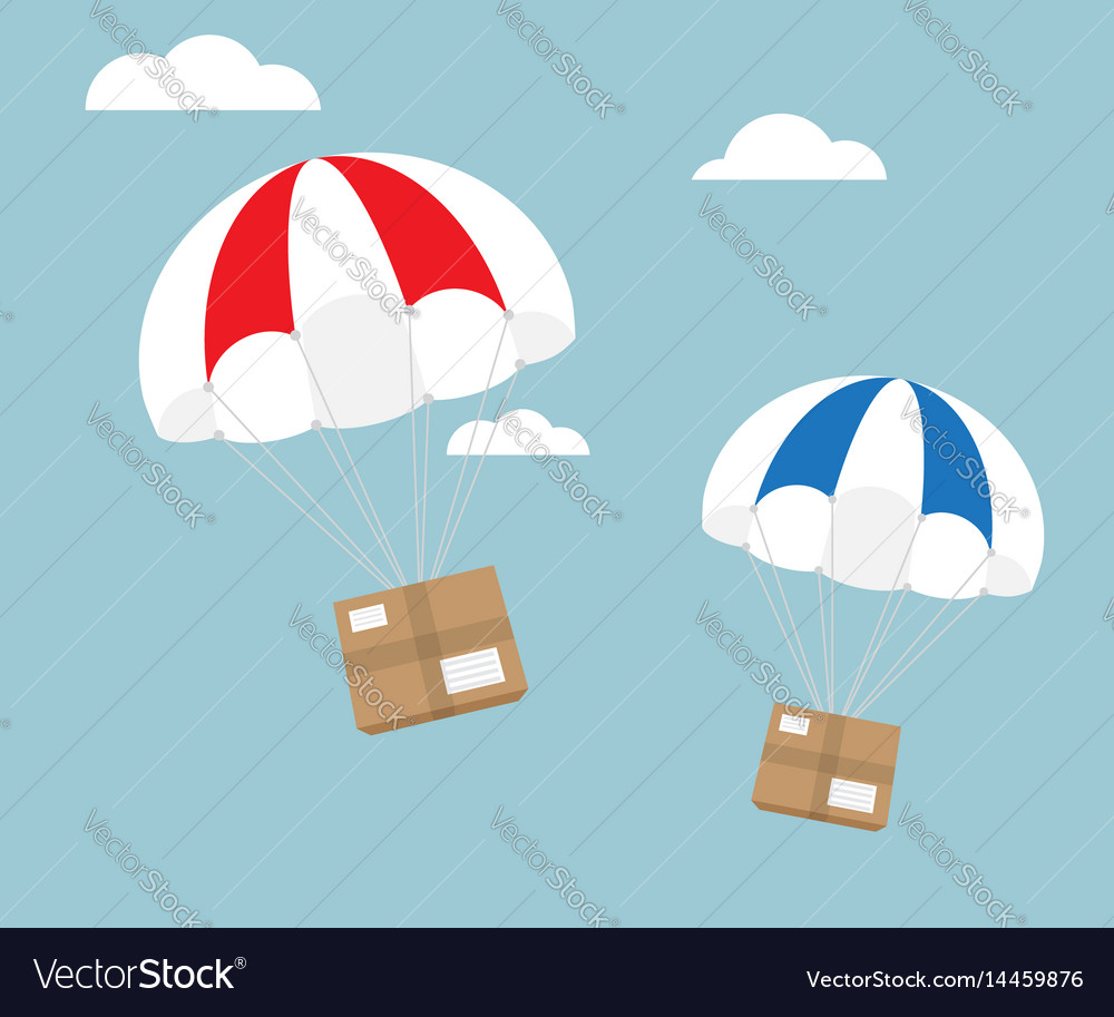 Package flying with parachute e-commerce shipping