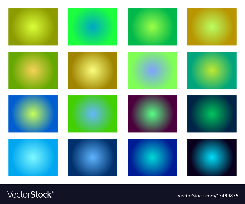 Set of gradient backgrounds blurred green shades