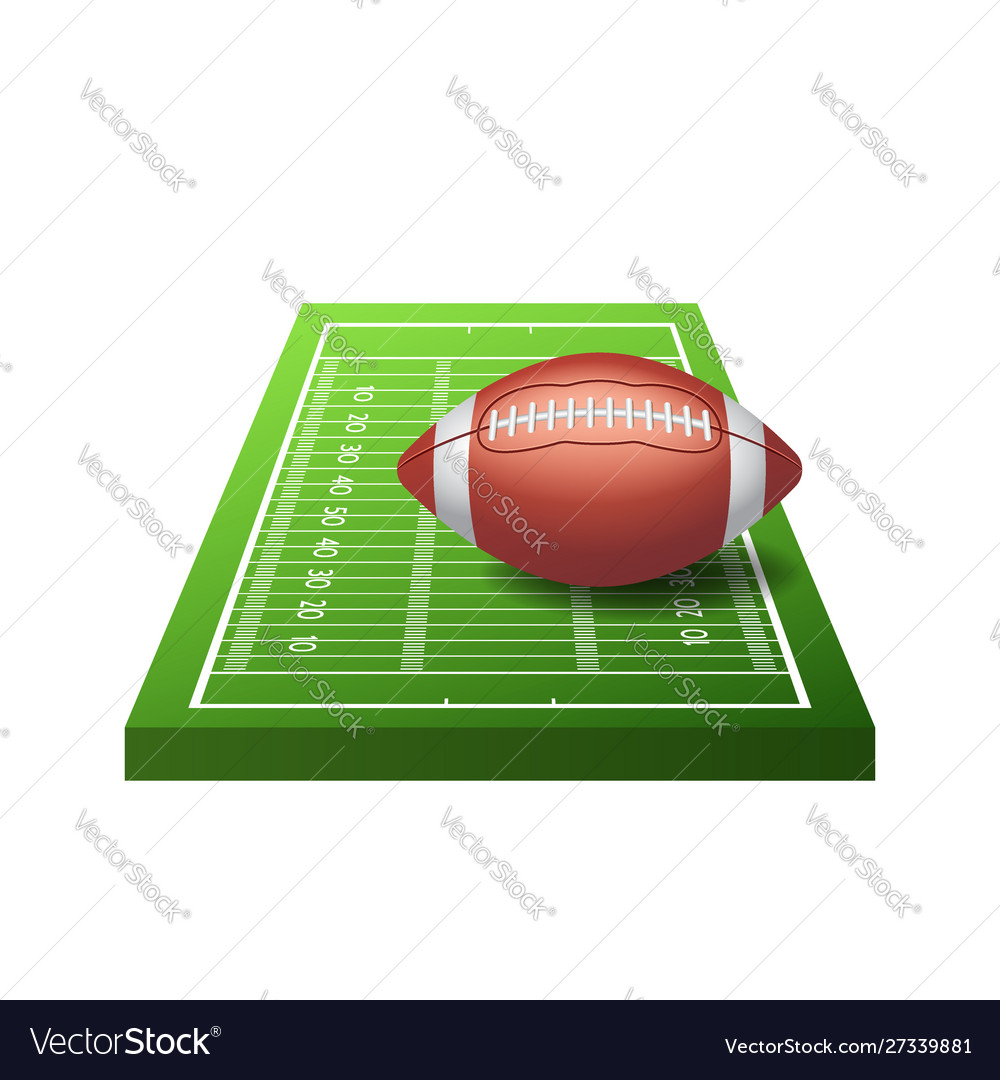 3d american football field icon with green grass