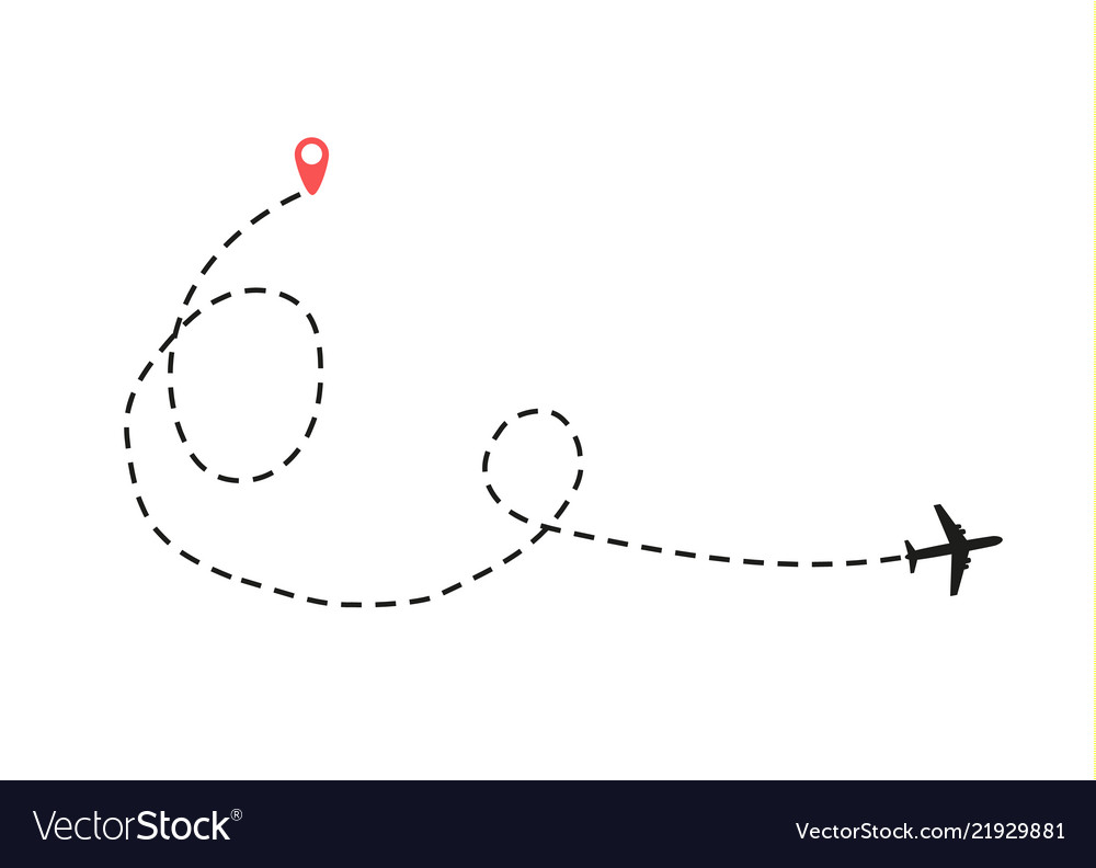 Airplane is in a dotted line