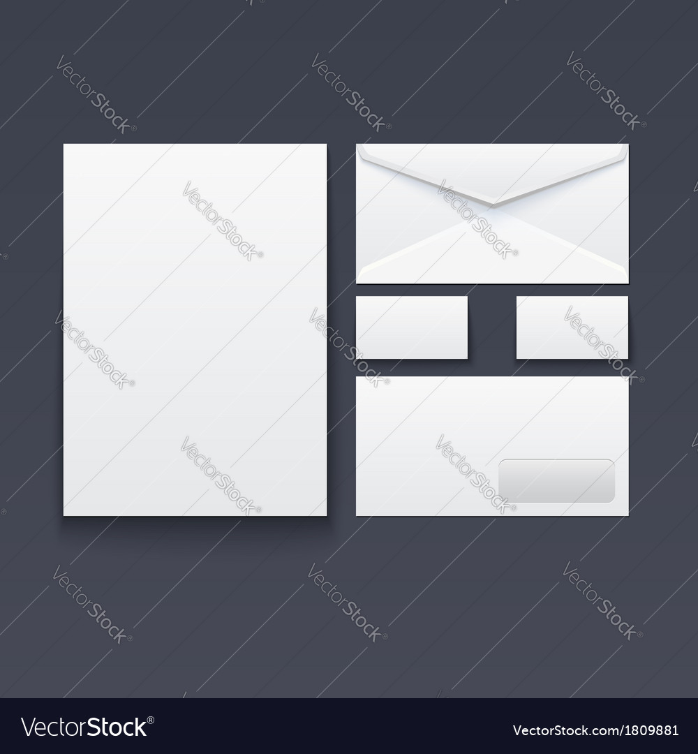 Blank envelope business card and paper Royalty Free Vector