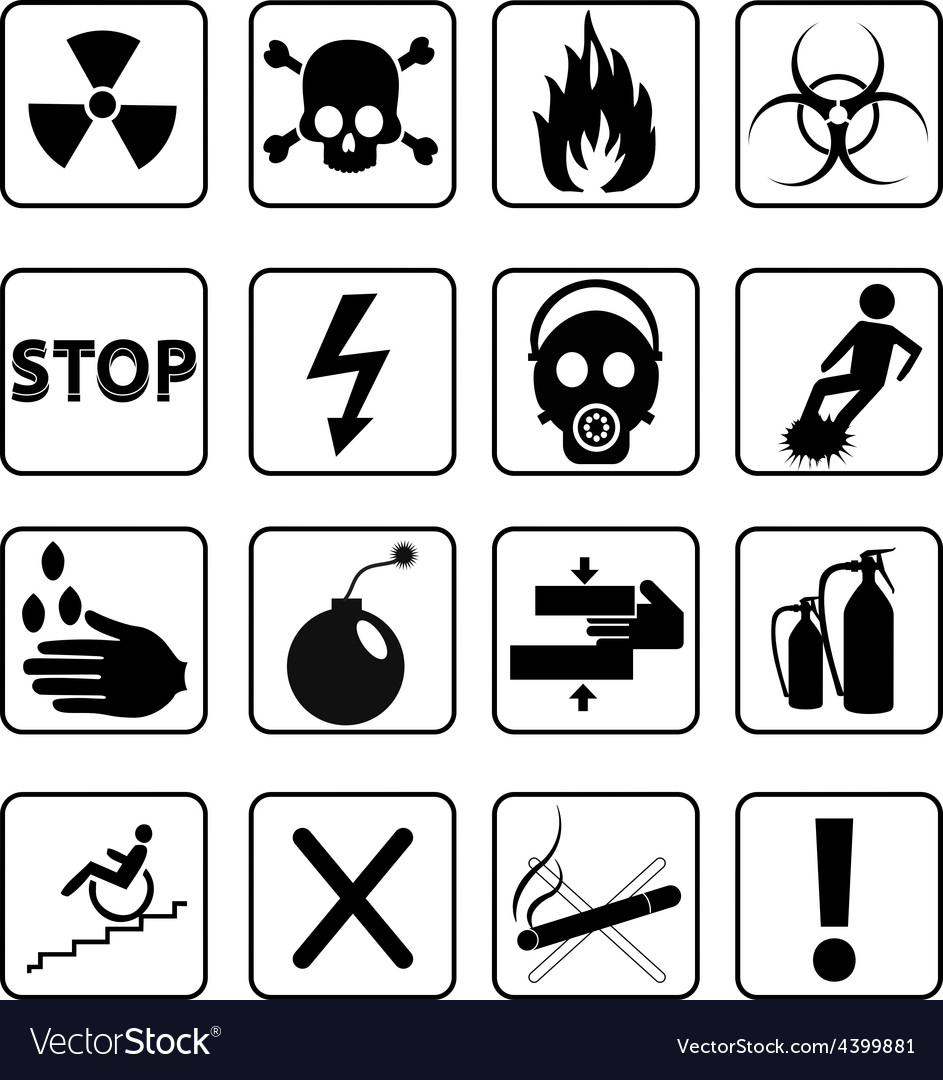 Danger signs icons set