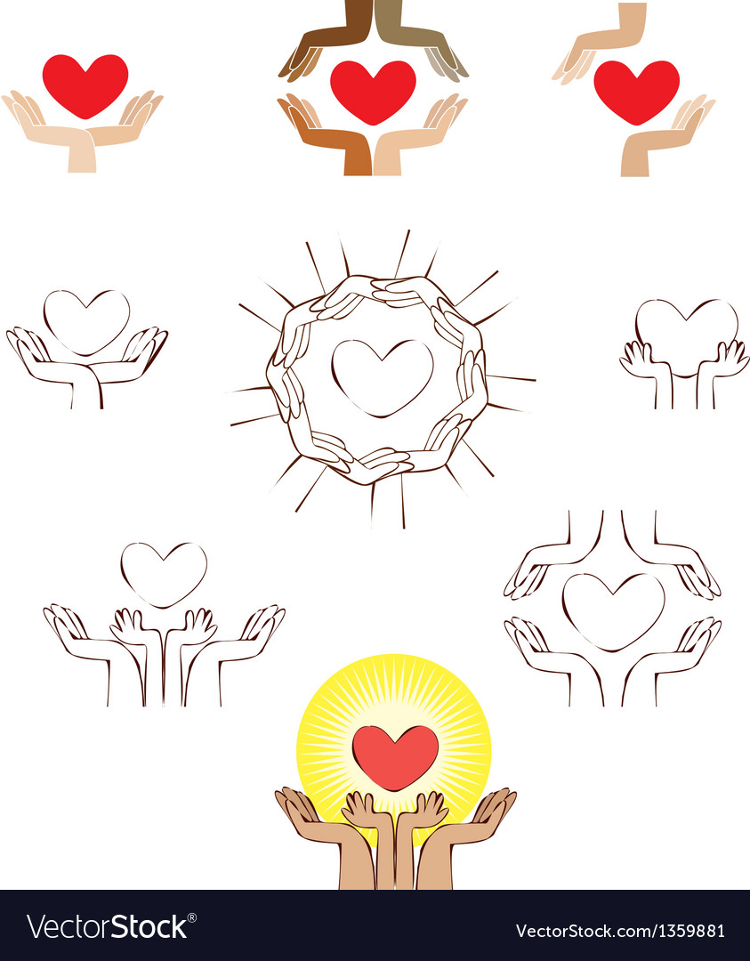 Hands and heart icon logo element