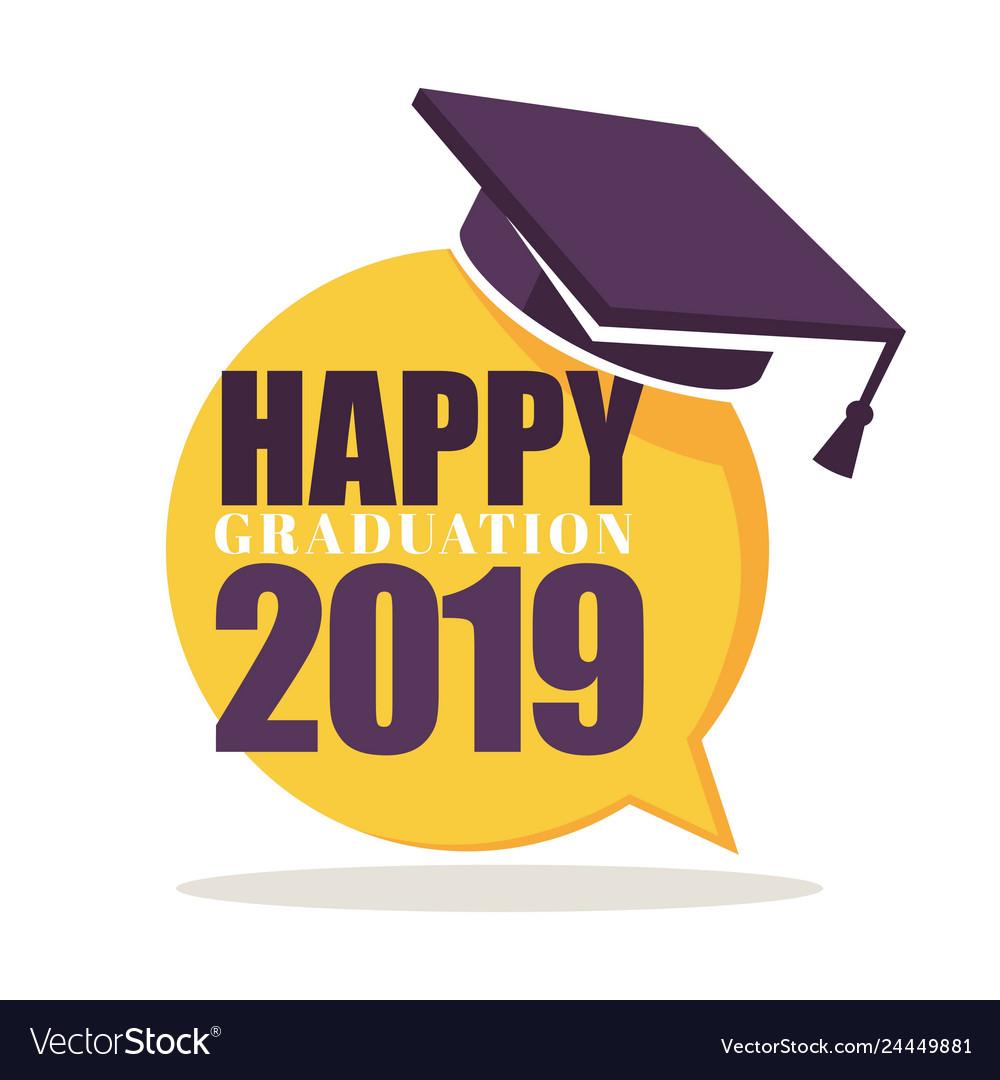 Happy graduation greeting isolated icon academic