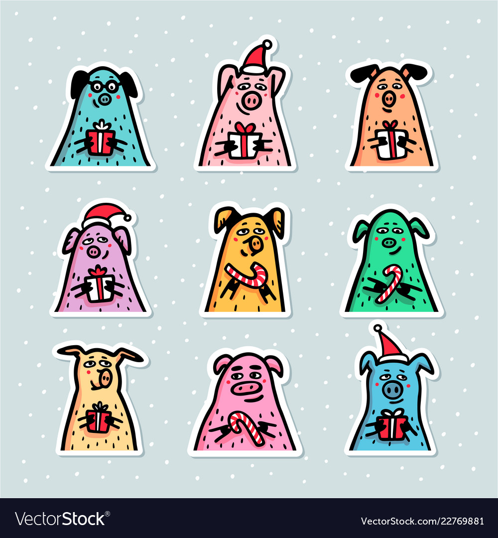 Pig stickers set funny pigs with candy canes