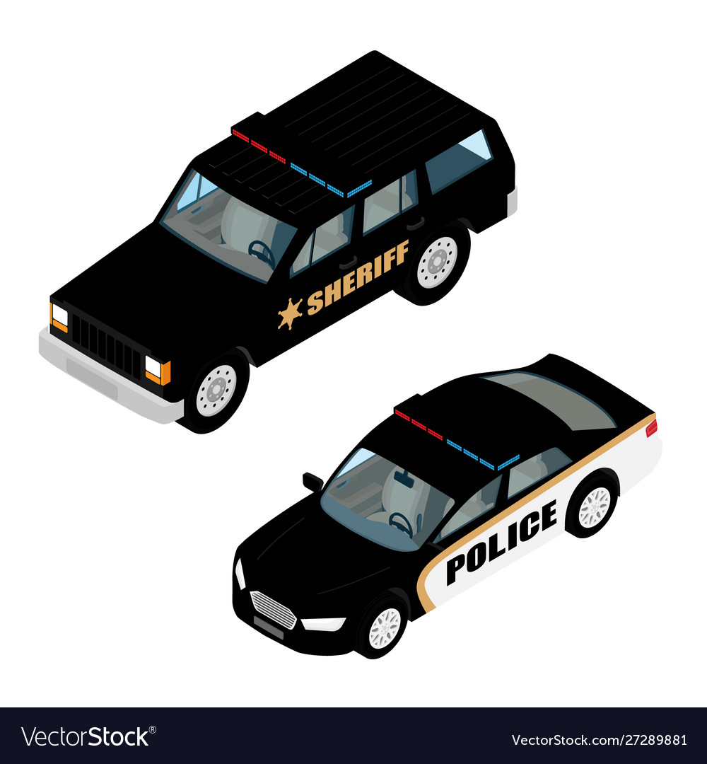 Police car set isometric view isolated on white