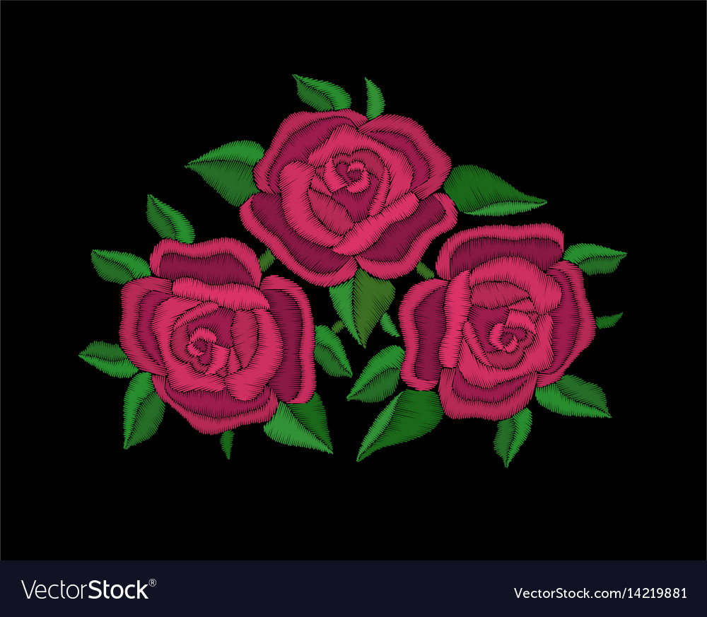 Red roses embroidery on black background